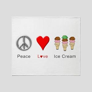 Peace Love Ice Cream Throw Blanket