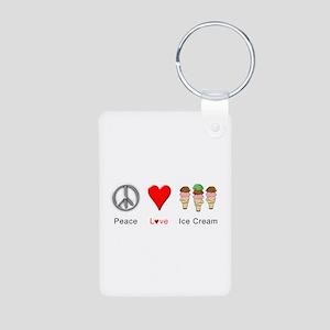 Peace Love Ice Cream Aluminum Photo Keychain