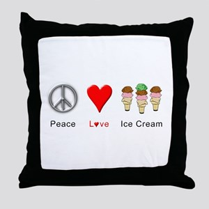 Peace Love Ice Cream Throw Pillow