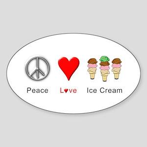 Peace Love Ice Cream Sticker (Oval)