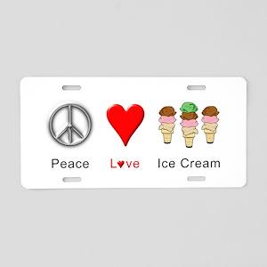 Peace Love Ice Cream Aluminum License Plate