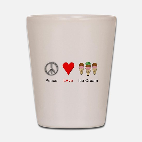 Peace Love Ice Cream Shot Glass