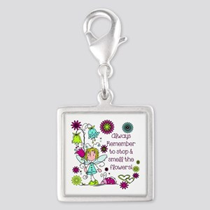 Smell the Flowers Silver Square Charm