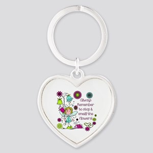 Smell the Flowers Heart Keychain