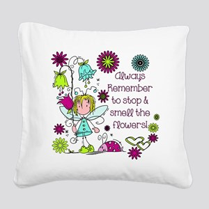 Smell the Flowers Square Canvas Pillow