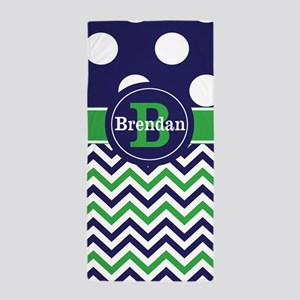 Blue Green Chevron Personalized Beach Towel