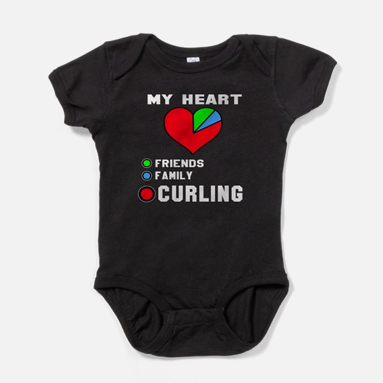 My Heart Friends, Family and Curling Baby Bodysuit