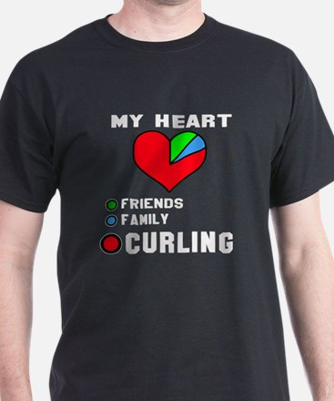My Heart Friends, Family and Curling T-Shirt