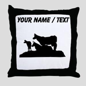Custom Bovine Family Silhouette Throw Pillow