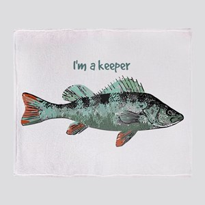 Im a Keeper Fun Quote with Fish Throw Blanket