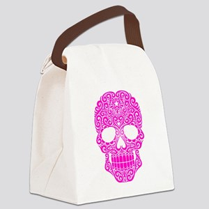 Pink Swirling Sugar Skull Canvas Lunch Bag