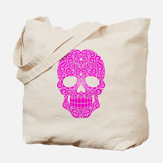 Pink Swirling Sugar Skull Tote Bag