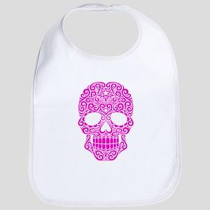 Pink Swirling Sugar Skull Bib