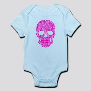 Pink Swirling Sugar Skull Body Suit
