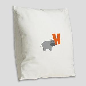 H Burlap Throw Pillow