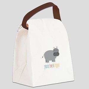 Peace, Love & Hippos! Canvas Lunch Bag