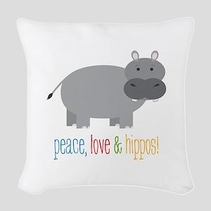 Peace, Love & Hippos! Woven Throw Pillow