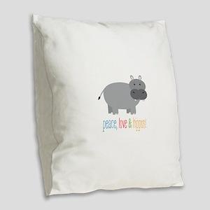 Peace, Love & Hippos! Burlap Throw Pillow