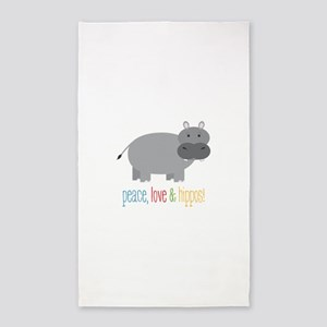 Peace, Love & Hippos! 3'x5' Area Rug