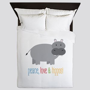 Peace, Love & Hippos! Queen Duvet