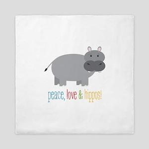 Peace, Love & Hippos! Queen Duvet