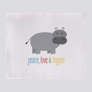 Peace, Love & Hippos! Throw Blanket