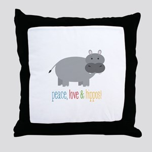 Peace, Love & Hippos! Throw Pillow