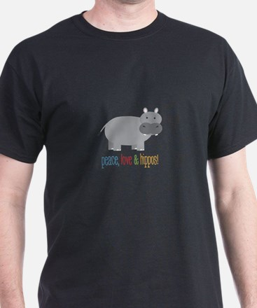 Peace, Love & Hippos! T-Shirt