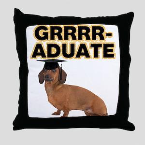 Graduation Dachshund Throw Pillow