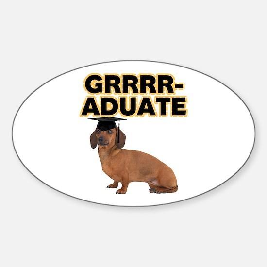 Graduation Dachshund Sticker (Oval)