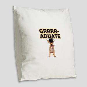 Graduation Chihuahua Burlap Throw Pillow