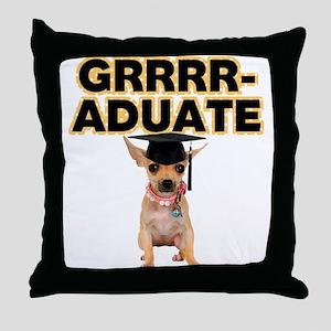 Graduation Chihuahua Throw Pillow