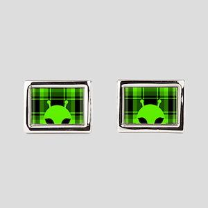 Peeking Alien UFO Rectangular Cufflinks