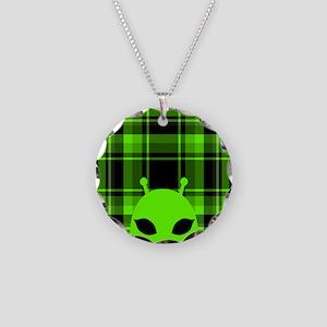 Peeking Alien UFO Necklace Circle Charm