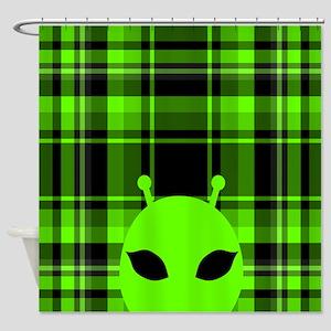 Peeking Alien UFO Shower Curtain