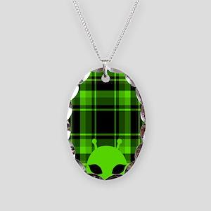 Peeking Alien UFO Necklace Oval Charm