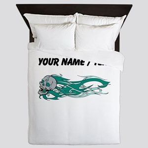 Custom Green Flames Skull Queen Duvet