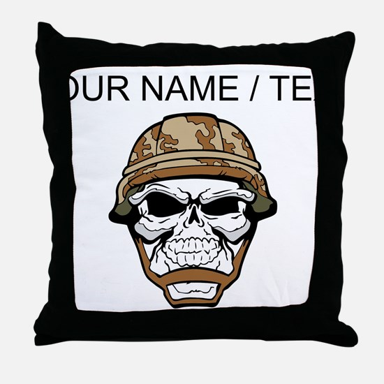 Custom Soldier Skull Throw Pillow