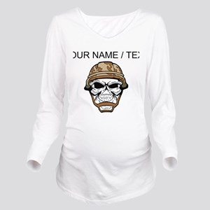 Custom Soldier Skull Long Sleeve Maternity T-Shirt