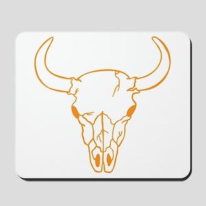 Orange Longhorn Skull Mousepad