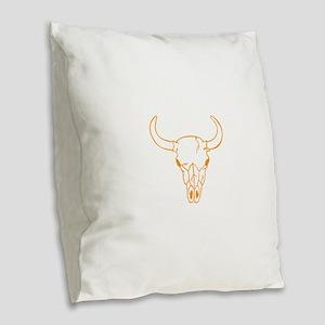 Orange Longhorn Skull Burlap Throw Pillow