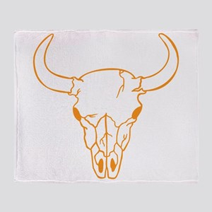 Orange Longhorn Skull Throw Blanket