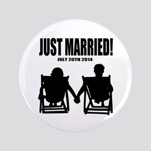 "Just Married | Personalized wedding 3.5"" Button"