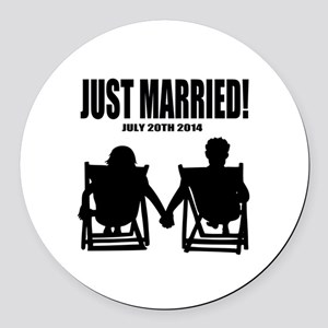 Just Married   Personalized wedding Round Car Magn