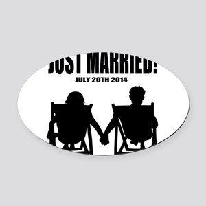Just Married | Personalized wedding Oval Car Magne