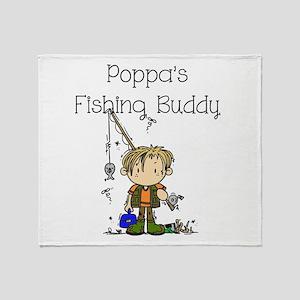 Poppa's Fishing Buddy Throw Blanket