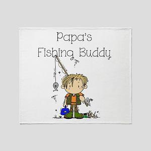 Papa's Fishing Buddy Throw Blanket