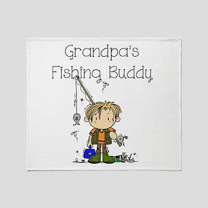 Grandpa's Fishing Buddy Throw Blanket