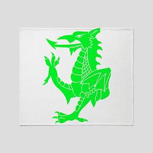 Green Tribal Dragon Throw Blanket