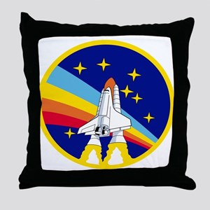 Rainbow Rocket Throw Pillow